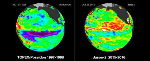 Эль-Ниньо – по-испански «малыш» – временное потепление воды, наблюдаемое примерно раз в восемь лет в экваториальной части Тихого океана. Есть легенда, что такое название придумали местные рыбаки, заметившие, что изменение температуры воды ведет к гибели рыбы: приход «младенца» обычно случается в конце декабря, совпадая с Рождеством. Эль-Ниньо оказывает заметное влияние на климат на всем земном шаре. В период его воздействия наблюдается больше необычных явлений – наводнений и засух, тропических циклонов и суровых зим, причем там, где они раньше обычно не наблюдались. Приход Эль-Ниньо в 1997-1998 годах привлек внимание мировой общественности и прессы, и тогда же были высказаны теории о связи этого явления с глобальным изменением климата. Последнее же появление «малыша» началось в конце 2015 года, продлилось до середины лета 2016-го и стало еще более мощным, чем в 1997-1998 годах. На фото: сравнение влияния Эль-Ниньо в 1997-1998 и 2015-2016 годах; кадры получены с использованием данных спутниковой съемки. Credit: sealevel.jpl.nasa.gov